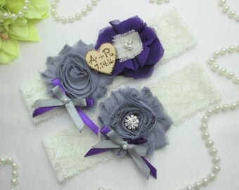 Personalized Country Chic Wedding Garter Set, Purple & Gray Wedding Garter Set, Wedding Accessories