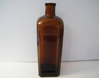 Peruvian Bitters Amber Bottle, vintage square glass  Embossed Monogram, 1880s medicine bottle, manufactured flaws, collectible quackery,