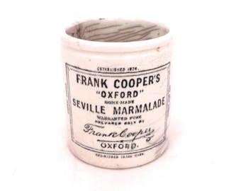 Vintage Frank Coopers Marmalade Jar, Utensil Pot, Frank Cooper Oxford Seville Marmalade Crock Pot, Antique Advertising Marmalade Pot,