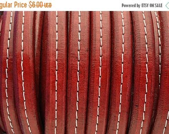 ON SALE Distressed Red Stitched Licorice Leather 10 x 6mm  8 inch/20cm piece