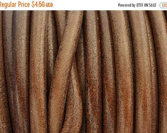 30% OFF 5MM Round Leather Cord - Tobacco Brown