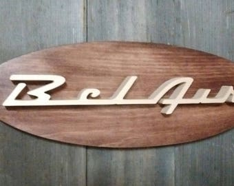 1955-57 Chevrolet Bel Air  Emblem Oval Wall Plaque-Unique scroll saw automotive art created from wood for your garage, shop or man cave.