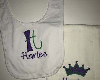 Personalized Coordinating Bib and Diaper Burp Cloth Set