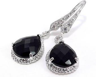 END Of SUMMER SALE Silver Rhinestone Earrings Black Ice Glass Pendant