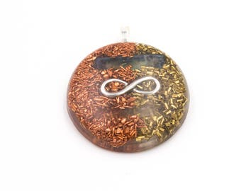 Aura Clearing Metal Resin Infinity Symbol Round Pendant for Energy Cleansing Necklace Large Round