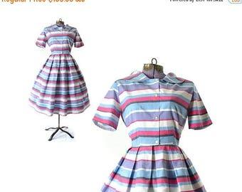 SALE - 1950s dress, 50s dress, blue dress, vintage clothing, vintage dress, day dress, vintage 1950s dress, rockabilly dress, cotton, stripe