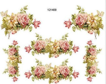 VinTage XL GoRGeouS KLeiN Pink And YeLLow RoSe CoRNeRs U0026 SWaGs DeCaLs  FuRNiTuRe SiZe