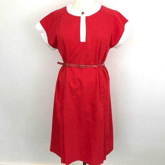 1970s dress red tailoered dress 70s Mod sundress UK 16 plus size vintage dress scooter girl pleated white st michael GoGo belt