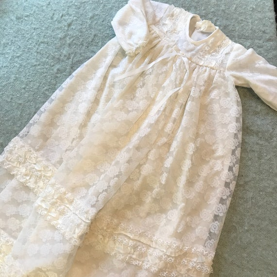 Vintage baby dress christening dress traditional white lace 1960s 1970s baby shower gift vintage childrenswear