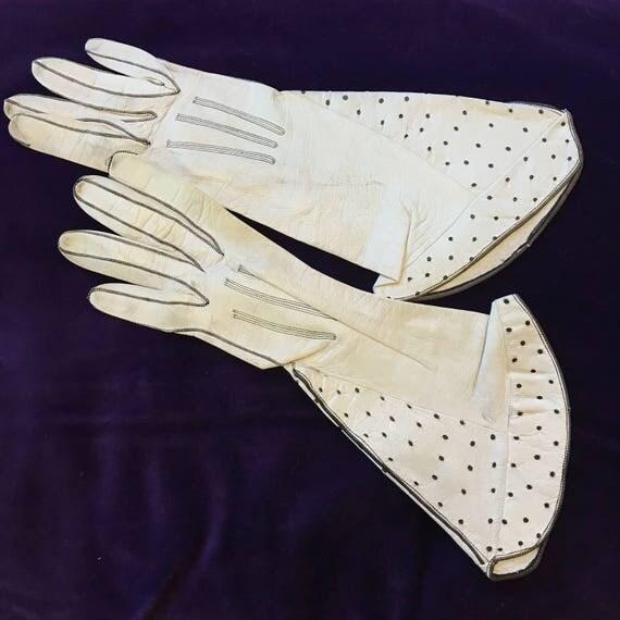 1920s gloves white leather gauntlet gloves polka dot design black and white 20s gauntlet x small 1930s
