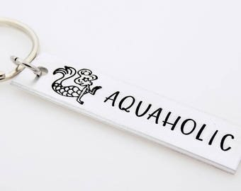 Mermaid Keychain, Aquaholic keychain, Beach Girl, Handstamped Keychain for her, Stamped metal keychain, Sea themed, Ocean water nature theme