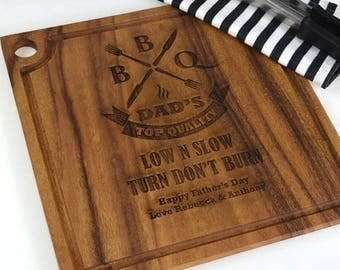 Father's Day Engraved Deluxe Square Chopping Board