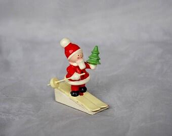 Sevi Santa on Skis - Vintage Santa Claus Figurine - Wooden Santa Claus Figurine - Sevi Christmas Decoration - Vintage Christmas Decorations