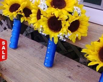 10 piece Sunflower Bouquet Yellow Sunflower Wedding Flower Set, Bridal Bouquet, Sunflower Horizon Blue Bouquet, Yellow Blue Bouquet Bride