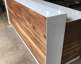Walnut & Steel Reception Desk (White)