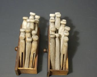 24 weathered old clothespins wooden clothespins 2 wooden drawers Laundry Pins Wood Clothes Pegs rustic laundry room decor craft supplies