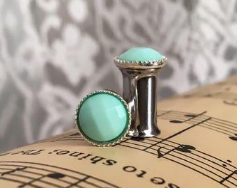 Fancy Mint Green Plugs, gauges  0g, 2g, 4g, 6g, 8g
