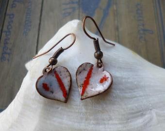 Hearts, enamel, copper, red earrings