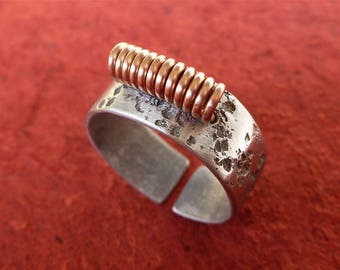 Ring of silver aluminum textured open ring