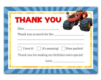 Blaze and the Monster Machines Thank You Cards - Blaze Printable Kids Thank You Notes - Blaze Birthday Party - Blaze Birthday Invitation