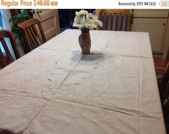 4th of July sale Vintage Ivory and Beige / Tan  Embroidered Eyelet Tablecloth