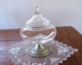 Pedestal Dish  Vintage Pedestal Glass  Covered Pedestal Candy Dish, Trinket Dish