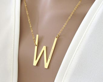Large Sideways Initial Necklace//Add Your Name //Name Necklace//Personalized Necklace //Gifts For Her//Sideways Letter Necklace