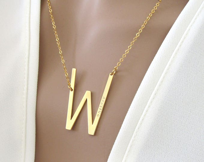 Featured listing image: Large Sideways Initial Necklace//Add Your Name //Name Necklace//Personalized Necklace //Gifts For Her//Sideways Letter Necklace
