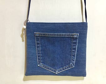 "Upcycled Jeans Crossbody Bag, Mini Crossbody Bag, Handmade Bag, Shoulder Bag, Perfect for Travel or a Night Out,Size W9""xH8"", Gift Idea!"