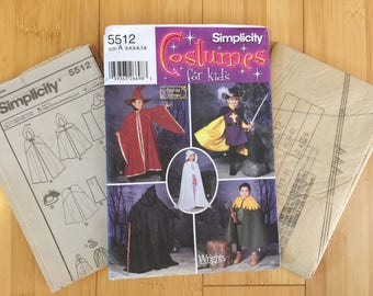 Cape Cloak Tunic Tabbard Dress Kids 3 4 5 6 7 8 Simplicity 5512 Harry Potter Princess Witch Knight Wizard Nights Watch