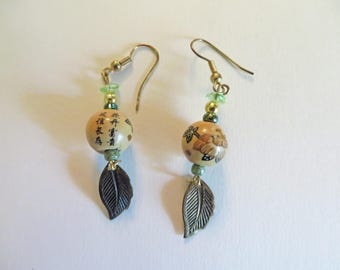 Asian Wood 8mm Bead Earrings, Antique Gold Leaf Dangle, Gold and Green Seed Beads and Green Glass Chips