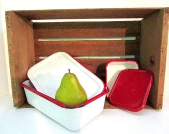 Set of 2 Enamelware Refrigerator Storage Boxes, With Lids, Red White, Country Farmhouse Cottage Kitchen Decor
