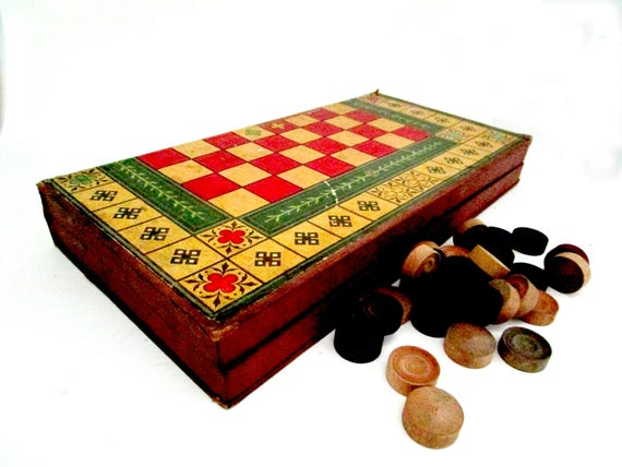 Vintage Backgammon Checkers Game Set, Decorative Game Set, Country Cottage Games