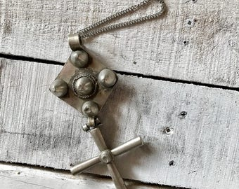 Huge Antique Lalibela Ethiopia Silver Cross Swivel Pendant Necklace