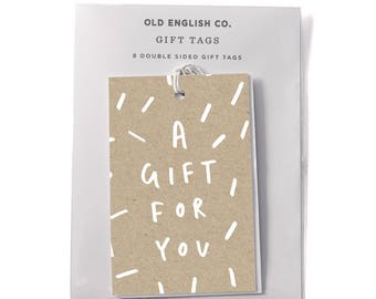 A Gift For You Typography Gift Tag Set - Set of 8 Gift Tags - Gift Wrap Tags -