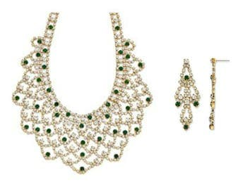 Jackie Kennedy Emerald Bib Necklace Set - Gold Plated, Simulated Stones, Box and Certificate