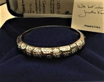 Jackie Kennedy Zebra Bracelet - Platinum Plated, Simulated Diamonds, Box and Certificate - Size 7.5
