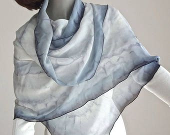 RESERVED - White Black Gray Wrap, Hand Painted Shawl, Unique Chiffon Wrap, Formal, Artisan Handmade, Hand Dyed, One of a Kind, Jossiani
