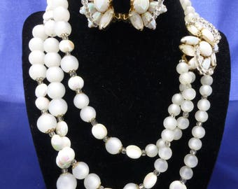 HOBE White Moonglow Three Strand Necklace and Matching Earrings Bridal Wedding Jewelry Gift For Her