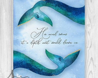 Mermaid Art Print, Mermaid Quote Art Print , Mermaid Tail Art Print, Her mind swims at depths most would drown in Quote Art Poster