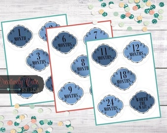 Monthly Onesie Stickers / Printable Baby Stickers / Baby Tags / Baby's First Year / Baby Boy / Blue / Navy / Instand Download