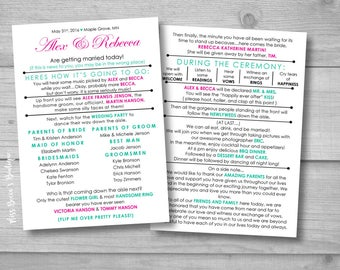 Funny Wedding Program, Instant download, barn wedding, laid back wedding, DIY, Template, modern bride, bride on a budget