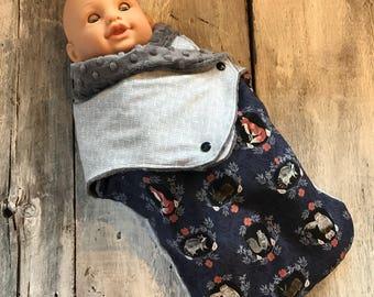 Small cocoon, Sleeping bag, sleep bag, swaddling blanket, Newborn (0-3 months) vintage animals, grey minky