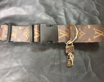 """Louis Vuitton dog collars 12-19""""  (30.5-48cm) adjustable 1.5""""  wide LV monogram repurposed"""