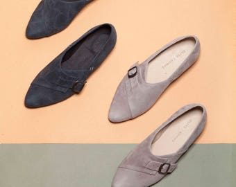 Monk Shoes, Buckle Shoes, Flat Shoes, Grey shoes, Oxford shoes, Leather shoes, Women shoes, Spring shoes, Flat shoes, handmade shoes