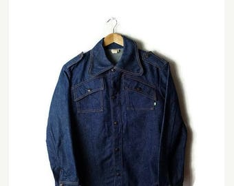 ON SALE Vintage Denim Snap button Long Sleeve Shirt from 1970's*