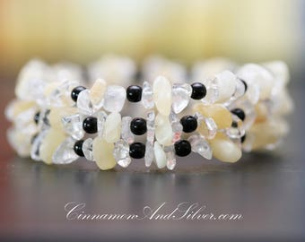 Yellow Aragonite and Clear Quartz Chips with Black Round Bead Gemstone Adjustable Memory Wire Coil Wrap Bangle Bracelet with Silver Wire