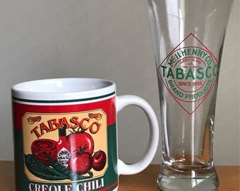 Vintage McIlhenny Co. Tabasco Brand Bar Glass & Creole Chili Mug, Hot Sauce, Avery Island Louisianna