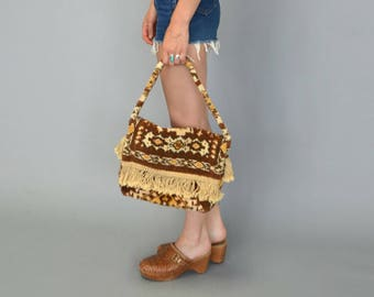 1970s brown fringe carpetbag