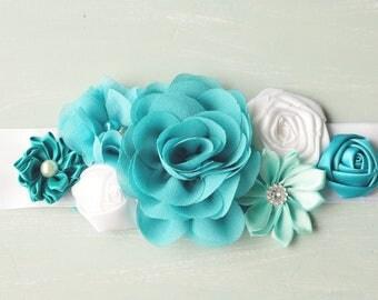 Maternity sash, turquoise and white floral  maternity photo prop. Bridal Sash